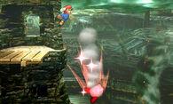 Mario haciendo un Smash Meteorico a Kirby SSB4 (3DS)