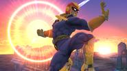 Captain Falcon usando su Gancho de fuego SSB4 (Wii U)