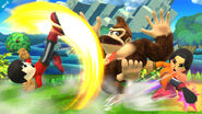 Donkey Kong junto a dos Miis Karateka en el Reino Champiñón U SSB4 (Wii U)