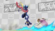 Greninja atacando a Zelda en el escenario Miiverse SSB4 (Wii U)