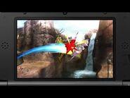 Link atacando a Fox en Valle Gerudo SSB4 (3DS)