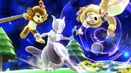 Mewtwo y dos Luchadores Mii con atuendos de DLC en Mario Galaxy SSB4 (Wii U)