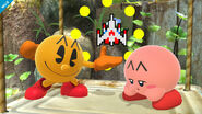 Pac-Man y Kirby en Vergel de la esperanza SSB4 (Wii U)