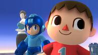 Aldeano, Mega Man y Entrenadora de Wii Fit en Campo de Batalla SSB4 (Wii U)