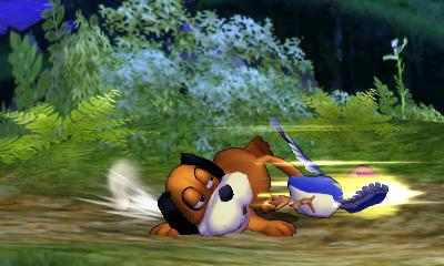 Dúo Duck Hunt usando su ataque fuerte inferior en SSB4 (3DS)
