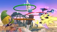 La Entrenadora de Wii Fit haciendo hula hoop contra Toon Link y Lucario en el Campo de batalla SSBWiiU