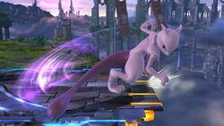 Ataque fuerte lateral Mewtwo (abajo) SSB4 (Wii U)