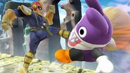 Captain Falcon atacando al Caco Gazapo en el Reino Champiñón U