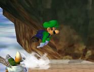 Luigi usando salto de recuperación 2 SSBM