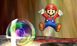 Mario usando su burla inferior junto a Master Core (Forma Bola Smash)