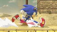 Sonic corriendo en Reino Champiñónico SSBU