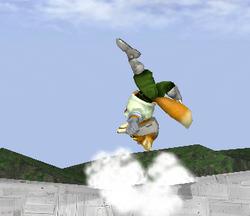 Ataque Smash hacia arriba de Fox SSBM