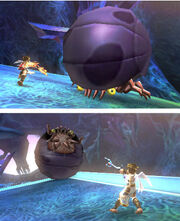 Pit atacando a un Megonita en Kid Icarus Uprising