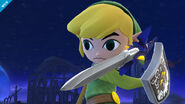 Vista cercana de la Espada Maestra de Toon Link en el Campo de Batalla SSB4 (Wii U)