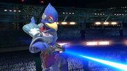 Falco usando su blaster SSBU