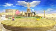 Mario, Kirby, Link y Pikachu en el Templo de Palutena (forma Destino Final) SSB4 (Wii U)