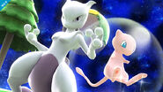 Mewtwo junto a Mew en Mario Galaxy SSB4 (Wii U)
