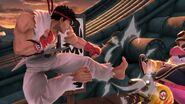 Ryu atacando a Wario en Suzaku Castle SSBU