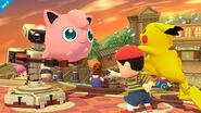 Jigglypuff junto a Pikachu, Ness y R.O.B. SSB4 (Wii U)