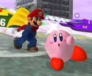 Mario usando la capa SSBM