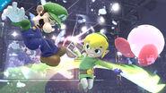 Toon Link usando el Ataque Circular en el Ring de boxeo SSB4 (Wii U)