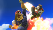 Captain Falcon atacando a Fox SSB4 (Wii U)