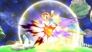 Entrenadora de Wii Fit realizando saludo al sol contra Mario en Galaxia Mario SSBWiiU