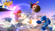 Mario, Mega Man, Pikachu y el Aldeano en el Campo de Batalla SSB4 (Wii U)