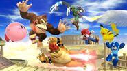Kirby, Donkey Kong, Bowser, Pikachu, Mario, Megaman, Link y la Entrenadora de Wii Fit en el Reino del Cielo SSB4 (Wii U)