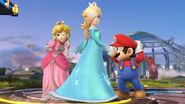 Mario, Peach y Estela en campo de batalla SSB4 (Wii U)