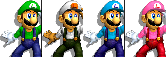 Paleta de colores Luigi SSBM