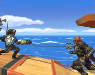 Link oscuro usando su Clawshot SSBB