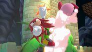 Knuckles atacando a Kirby en El gran ataque de las cavernas SSBU