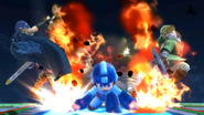 Mega Man atacando a Marth y a Link en el Castillo de Wily SSB4 (Wii U)