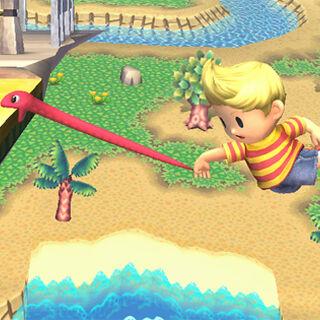 Lucas usando la Cuerda Serpiente como una recuperación con cuerda en <i>Super Smash Bros. Brawl</i>.