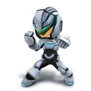 Artwork del Karateka Mii con el casco y la armadura bionica