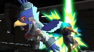 Falco golpeando a Captain Falcon SSBU