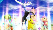 Xerneas usando Geocontrol a Pikachu, la aldeana y Yoshi SSB4 (Wii U)