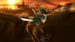 Ataque aéreo trasero de Link (1) SSB4 (Wii U)