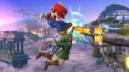 Link agarrandose del borde del Campo de Batalla SSB4 (Wii U)