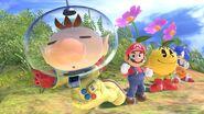 Olimar junto a Mario, Pac-Man y Sonic SSBU
