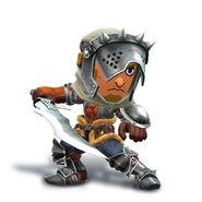Artwork del Espadachín Mii con el casco y malla de cazador