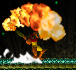 Ataque Smash hacia arriba de Samus SSB