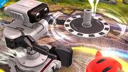 R.O.B. usando su Gyro en el Campo de batalla SSB4 (Wii U)