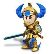 Artwork de Espadachin Mii con casco y armadura de Gilgamesh