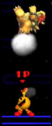 Pac-Man Usando Su Lanzamiento Superior Contra Bowser SSB 3DS