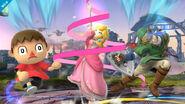 Aldeano, Peach y Link en el Campo de Batalla SSB4 (Wii U)