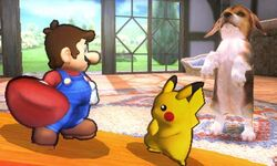 Mario y Pikachu en la Casa SSB4 3DS