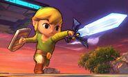 Toon Link usando la espada maestra en el Campo de Batalla SSB4 (3DS)