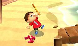 Ataque fuerte hacia arriba Aldeano (2) SSB4 (3DS)